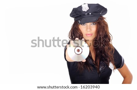 Sexy girl in police uniform holding CD,  DVD  disk