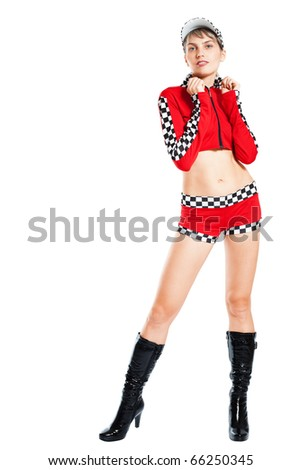 Sexy girl in racer costume isolated on white