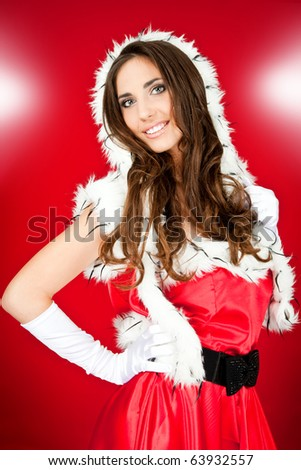 sexy girl in santa costume on abstract background - stock photo