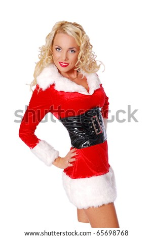 Sexy girl is posing in a christmas costume - stock photo