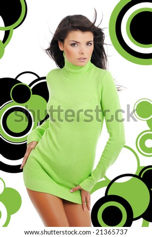 Sexy girl over abstract modern round design background - stock photo