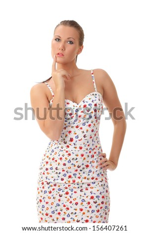 sexy girl posing in dress - stock photo