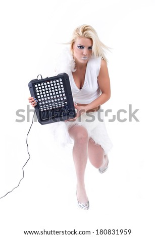 Sexy girl posing with audio equipment. Isolated on a white background. Studio shot - stock photo