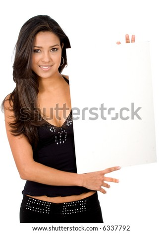 sexy girl smiling and holding a banner add isolated over a white background - stock photo