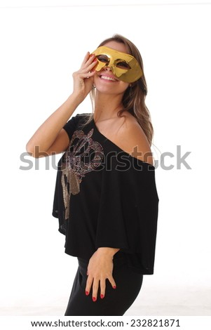 Sexy girl wearing a black dress and masked - stock photo