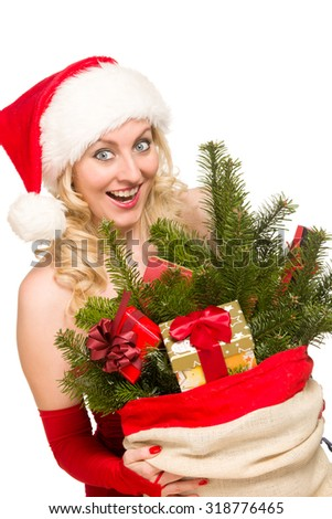 sexy girl wearing santa claus clothes - stock photo