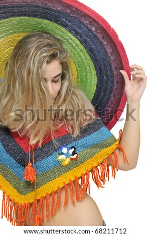 Sexy girl with a big sombrero isolated in white