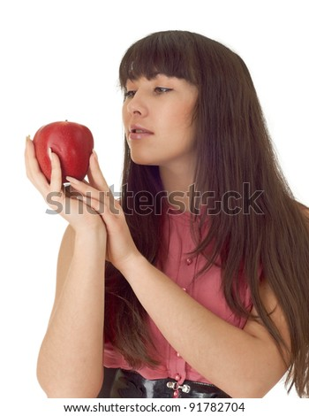 Sexy girl with apple