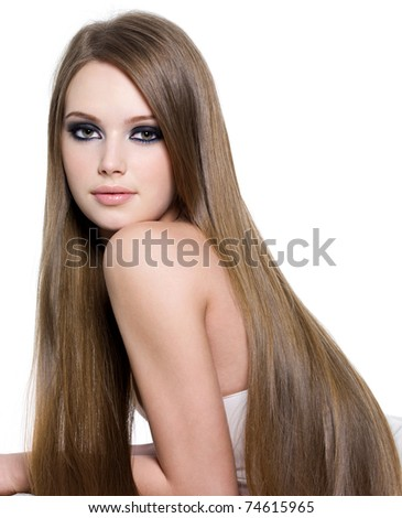 Sexy girl with beautiful long straight  hair- isolated on white - stock photo