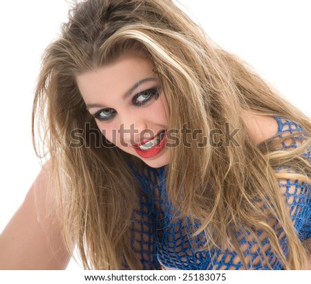 Sexy girl with  blue blouse  on  white background