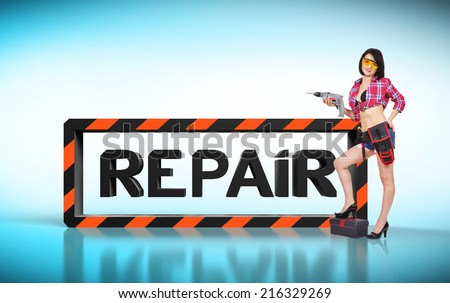 sexy girl with electric drill, repair concept - stock photo