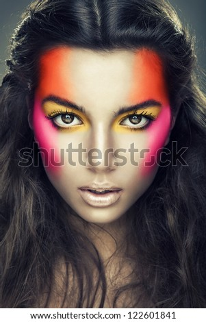 sexy girl with eye shadows on face - stock photo