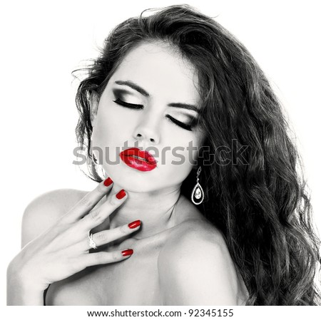 Sexy girl with red lip, black and white portrait - stock photo
