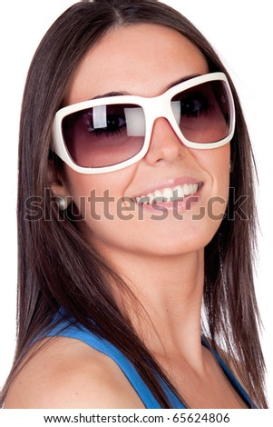 Sexy girl with sunglasses isolated on a over white background