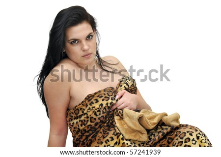 Sexy girl with syntetic leopard fur isolated in white