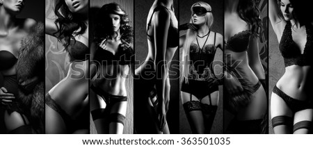 Sexy girls in erotic lingerie. Underwear collection in black and white. - stock photo
