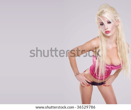 sexy glamour blonde girl wearing  pink corset and violet heels l - stock photo
