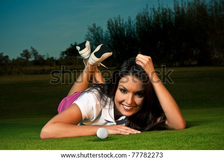 sexy golf girl - stock photo