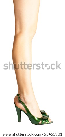 Sexy green leather high heels stilettos shoes and womens legs isolated on white background - stock photo