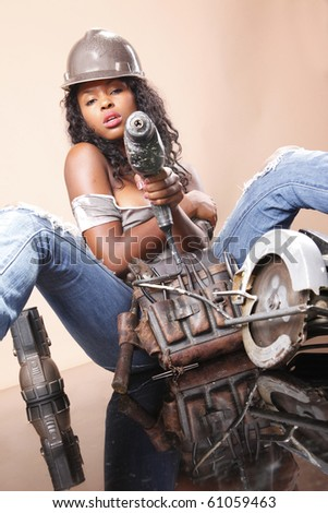 Sexy handyman and home care tools - stock photo