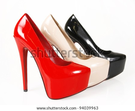 Sexy heels on a white background - stock photo