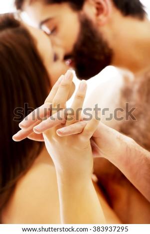 Sexy heterosexual couple kissing. - stock photo
