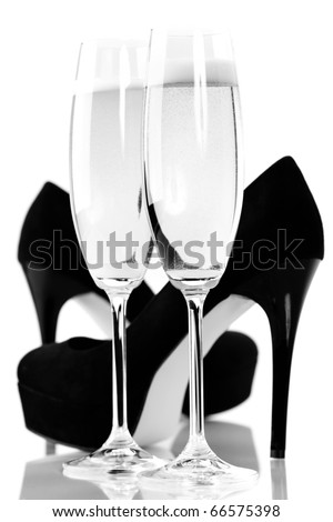 sexy high heels and champange or sparkling wine - stock photo