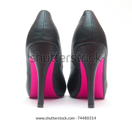 Sexy High Heels with Pink Sole - stock photo