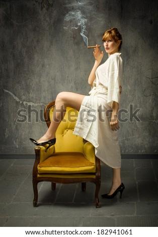 sexy housewife in kimono - stock photo