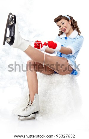 Sexy Ice Skating pin-up Woman - stock photo