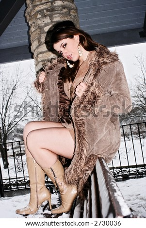 sexy in winter - stock photo