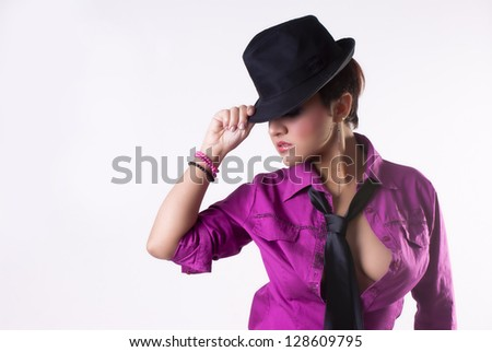 Sexy isoalated woman on white background with hat - stock photo