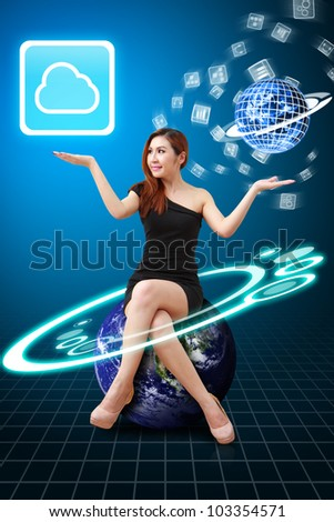 Sexy lady hold the Cloud Computing icon from the app world : Elements of this image furnished by NASA - stock photo