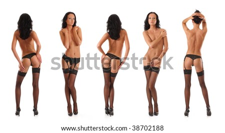 Sexy lady in sexy stockings - stock photo