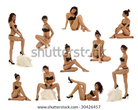 Sexy lady isolated on white - stock photo