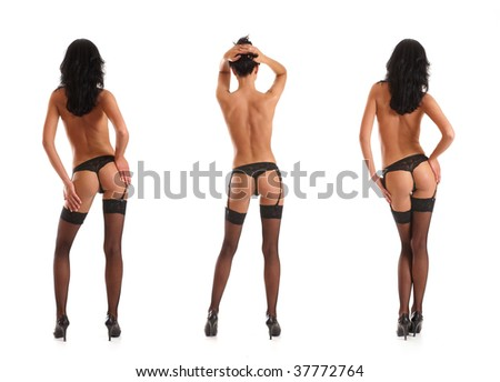 Sexy lady isolated on white (3 poses) - stock photo