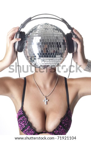 Sexy lady with a discoball head - stock photo