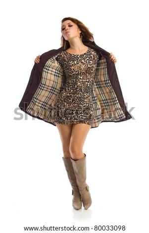 Sexy latin girl in tight animal print dress - stock photo