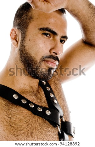 Sexy latin  guy in leather gear