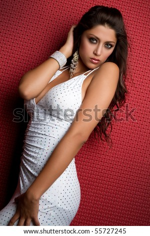 Sexy latina white dress woman - stock photo