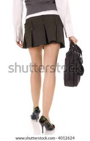 sexy legs in high heels shoes and in one hand briefcase (ready for voyage) isolated on white background. Studio shot, professional model, perfect for travel agency - stock photo
