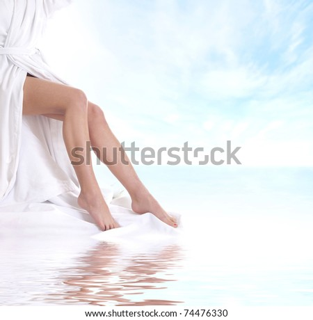 Sexy legs of young beautiful woman - stock photo