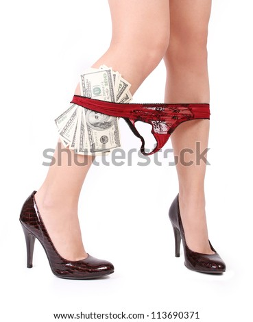 sexy legs with panties down and money isolated on white - stock photo