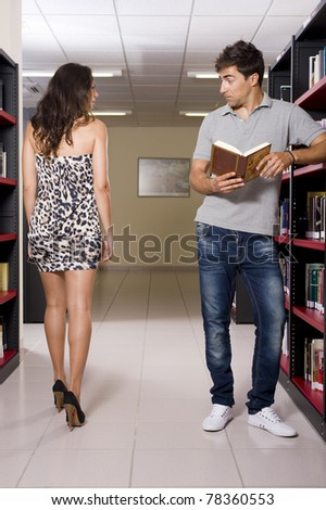 Sexy library - stock photo