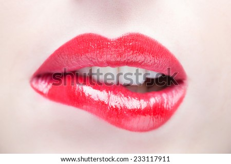 Sexy Lips. Beauty Red Lip Makeup Detail. - stock photo