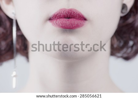 Sexy Lips. Beauty Red Lips Makeup Detail. Beautiful Make-up Closeup. Sensual Mouth. lipstick or Lipgloss - stock photo