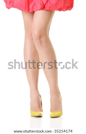 Sexy long legs isolated over white background - stock photo