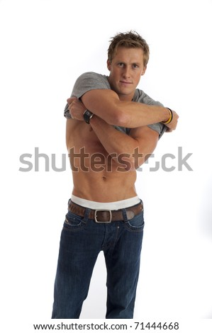 Sexy looking male isolated against white