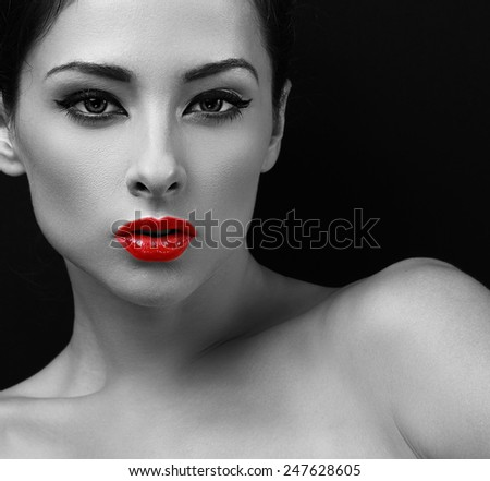 Sexy makeup woman with red lipstick. Black and white portrait. Closeup - stock photo