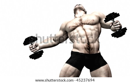 Sexy male body builder - weight lifter - stock photo